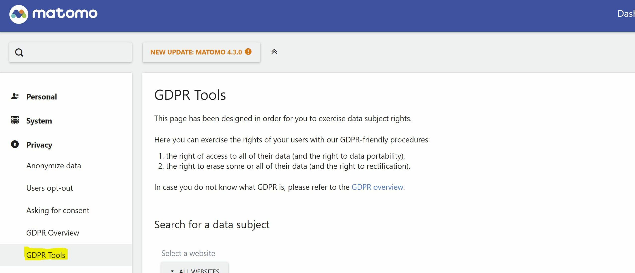 matomo - gdpr tools - pii deletion